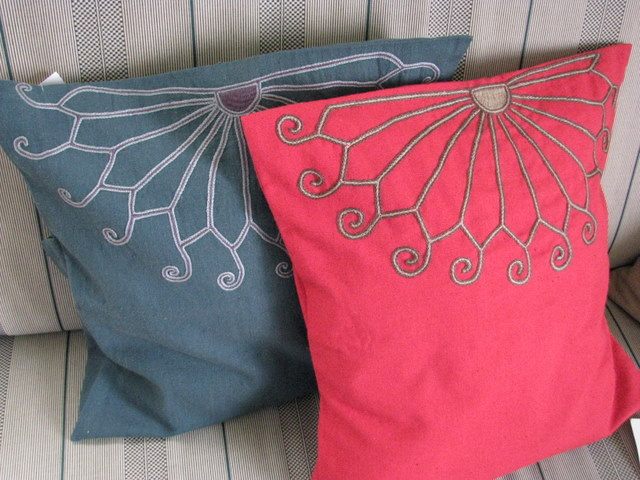 Gundara - Embroidered cushion cover by Zardozi red cotton