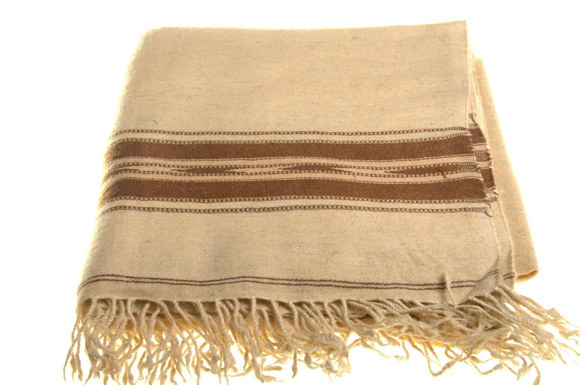 Beige colour handwoven woolen plaid from Swat