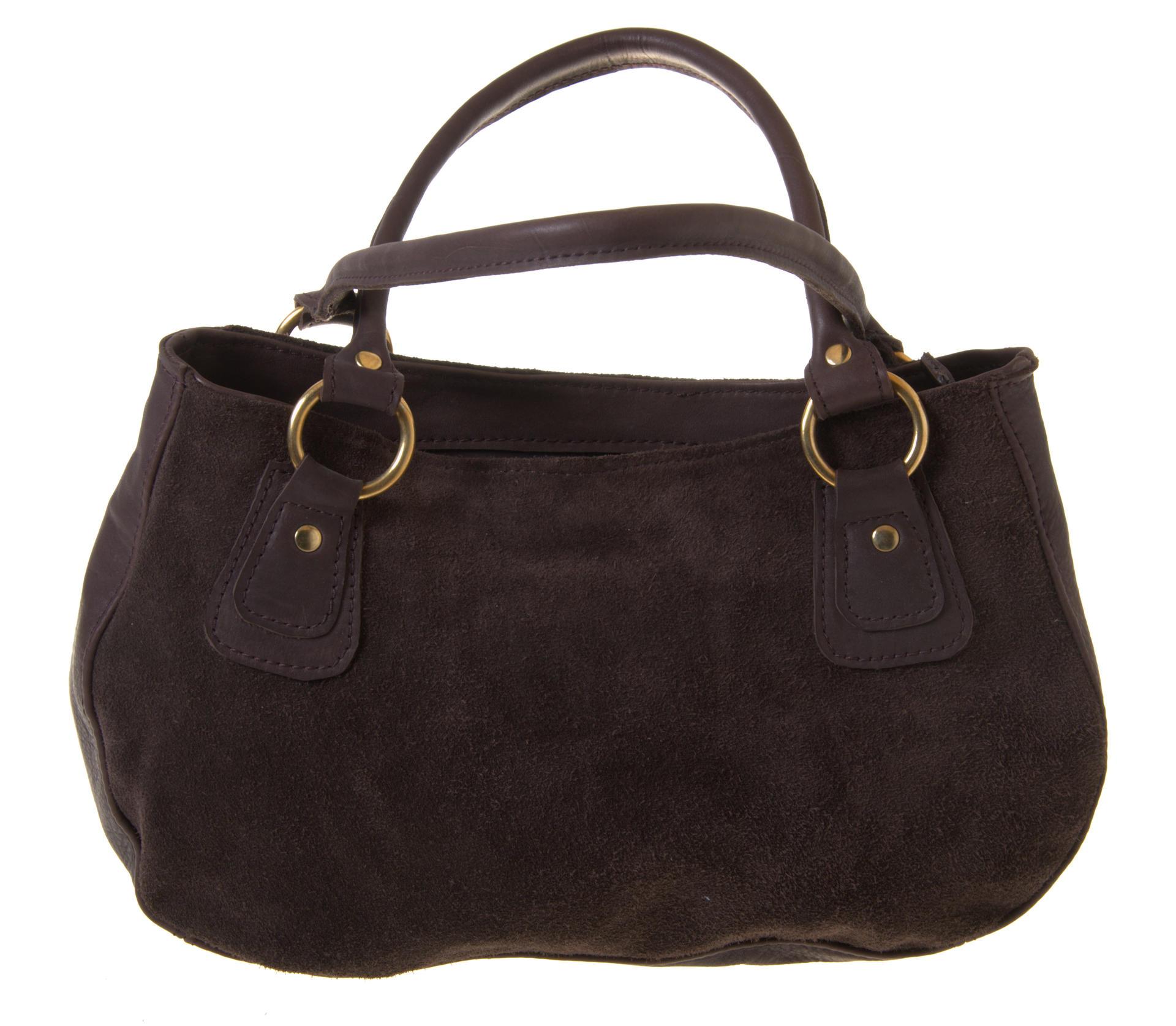 fida zipper closed bag in chocolate leather and suede