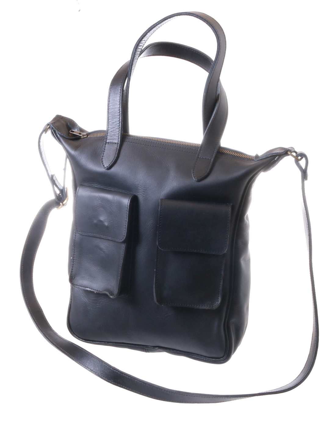 Gundara - black cross-body bag genuine cow leather - handmade & fair from Ethiopia