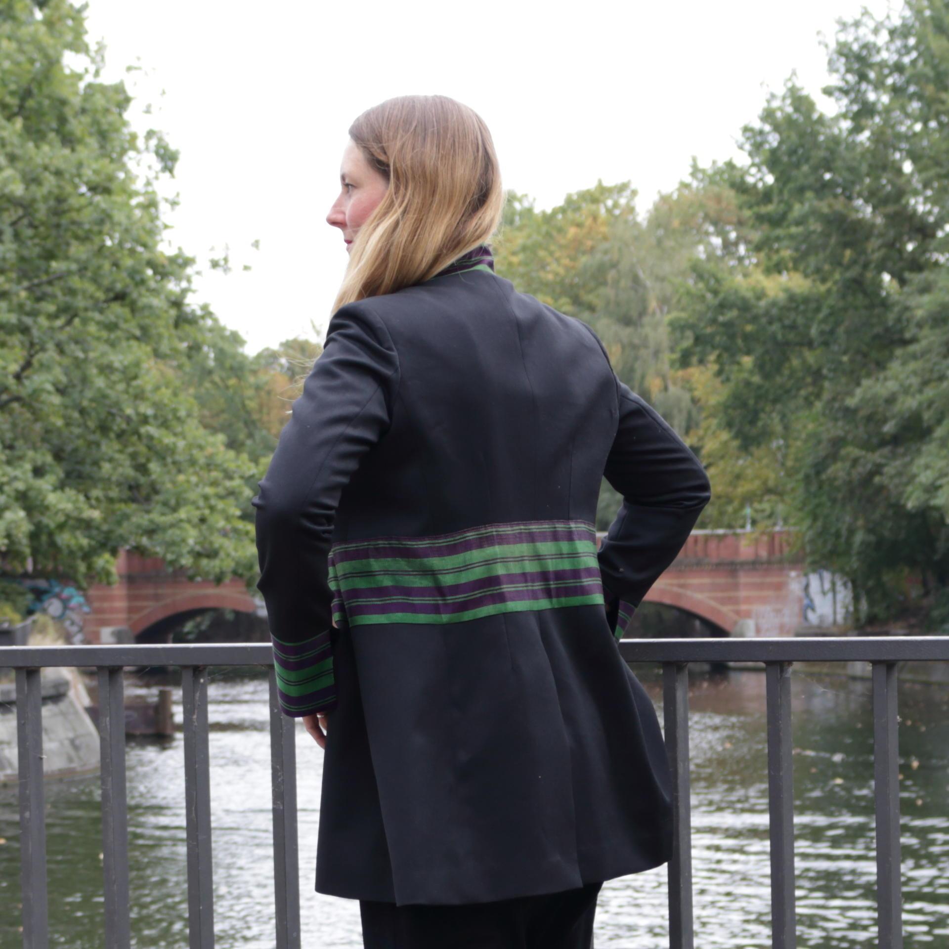 black and long jacket