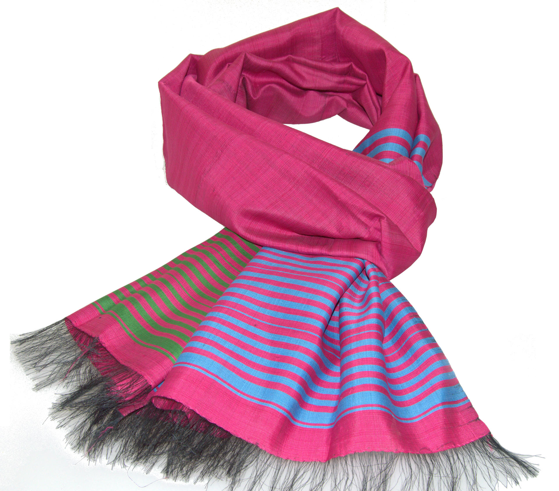 Echarpe en soie sauvage bleu et rose tissée à la main   Gundara 5dfe53abe82