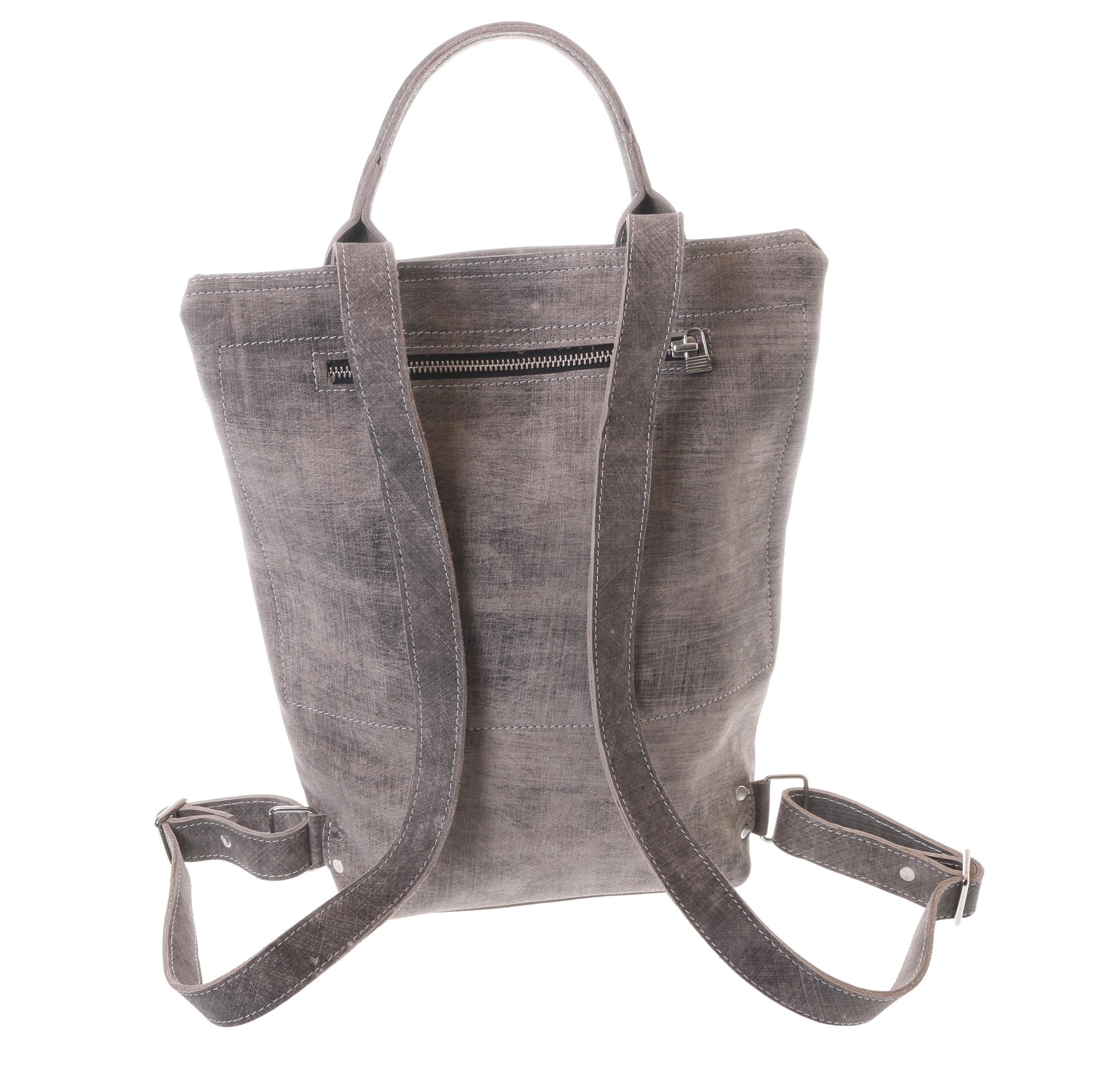 Gundara - fairtrade backpack - grey-scratch cow hide - handmade & fair from Ethiopia