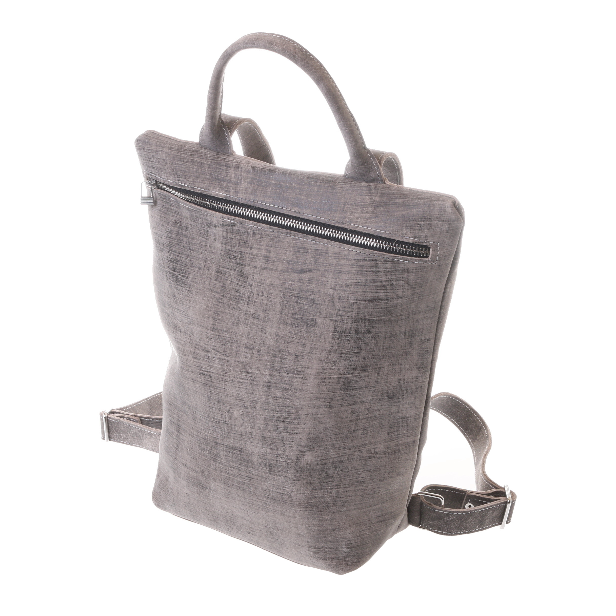 Gundara - fair and handmade grey-scratch leather backpack - directly from Ethiopia