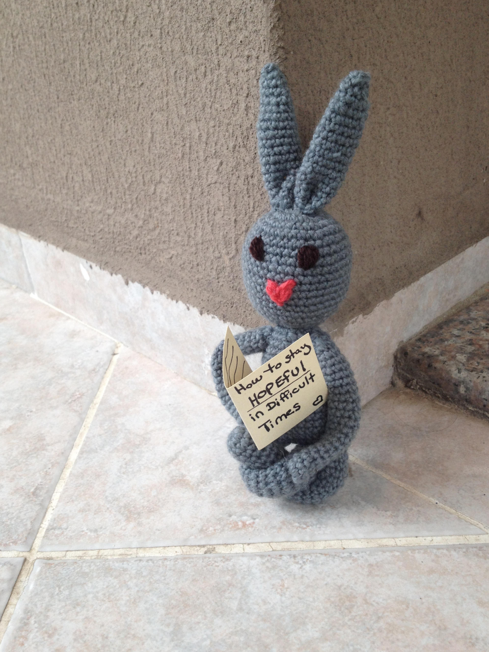 Amal - comfort bunny - knitted by Syrian refugee women in Turkey - help and smile