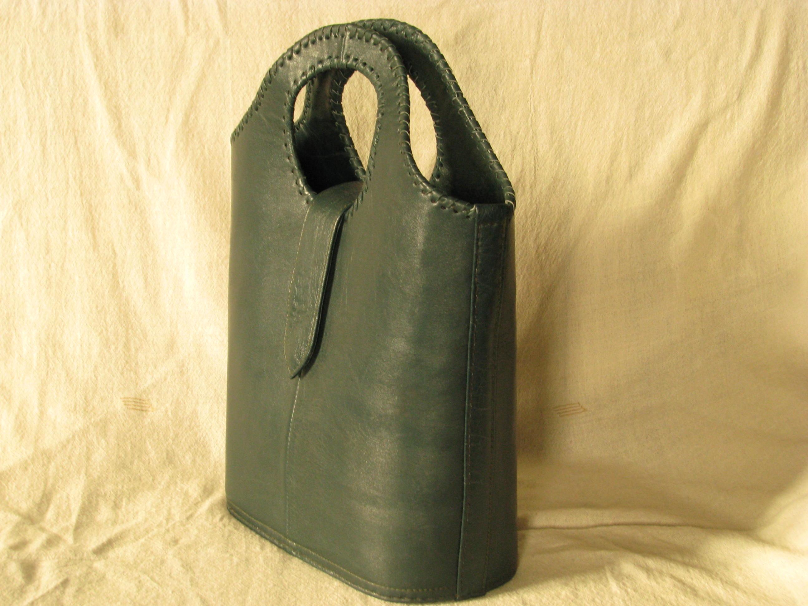 Gundara - dark-green shopper - from Afghanistan - side view - fair trade - genuine leather