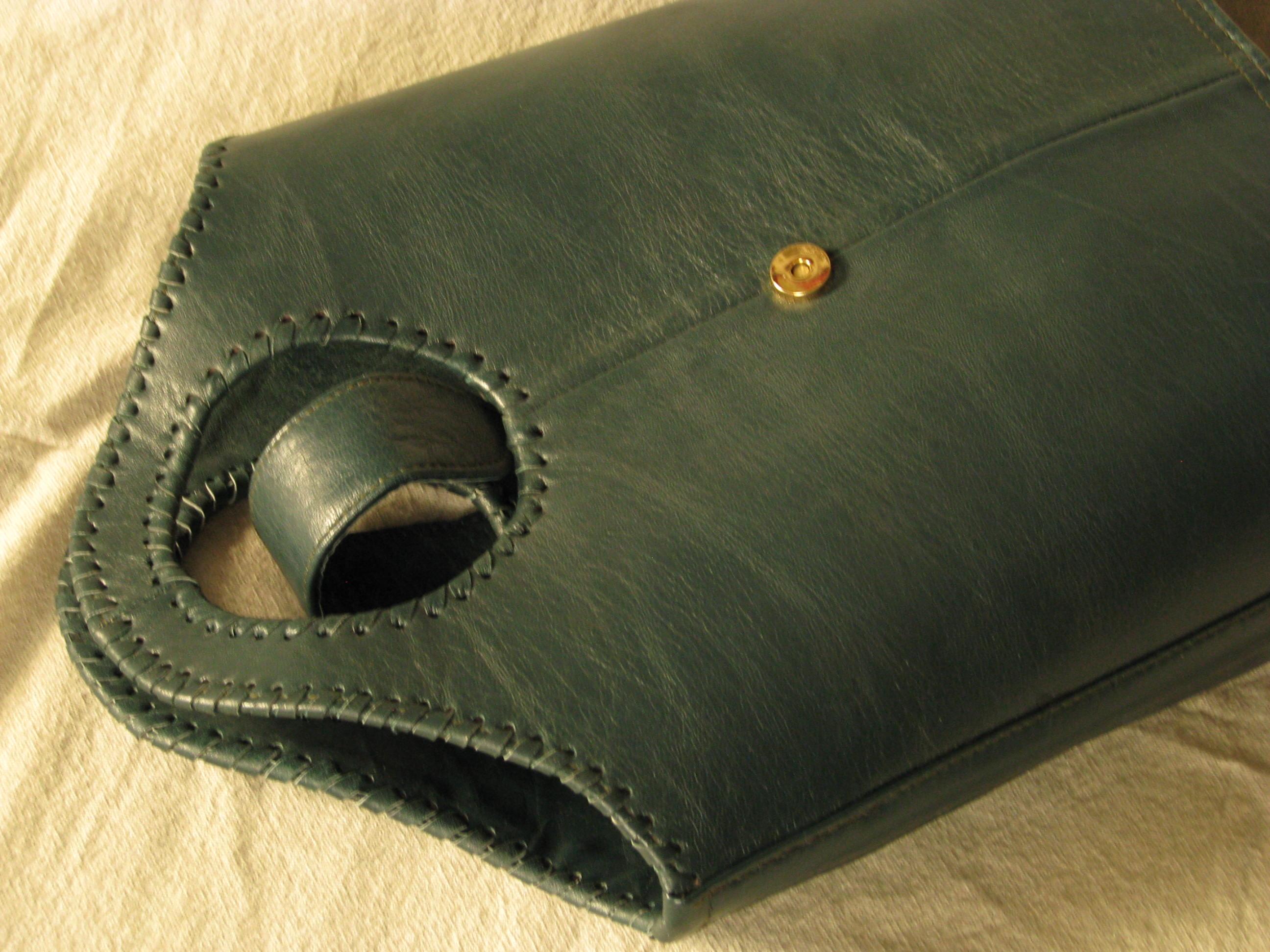Gundara - dark-green shopper - genuine leather - fair trade - made in Afghanistan
