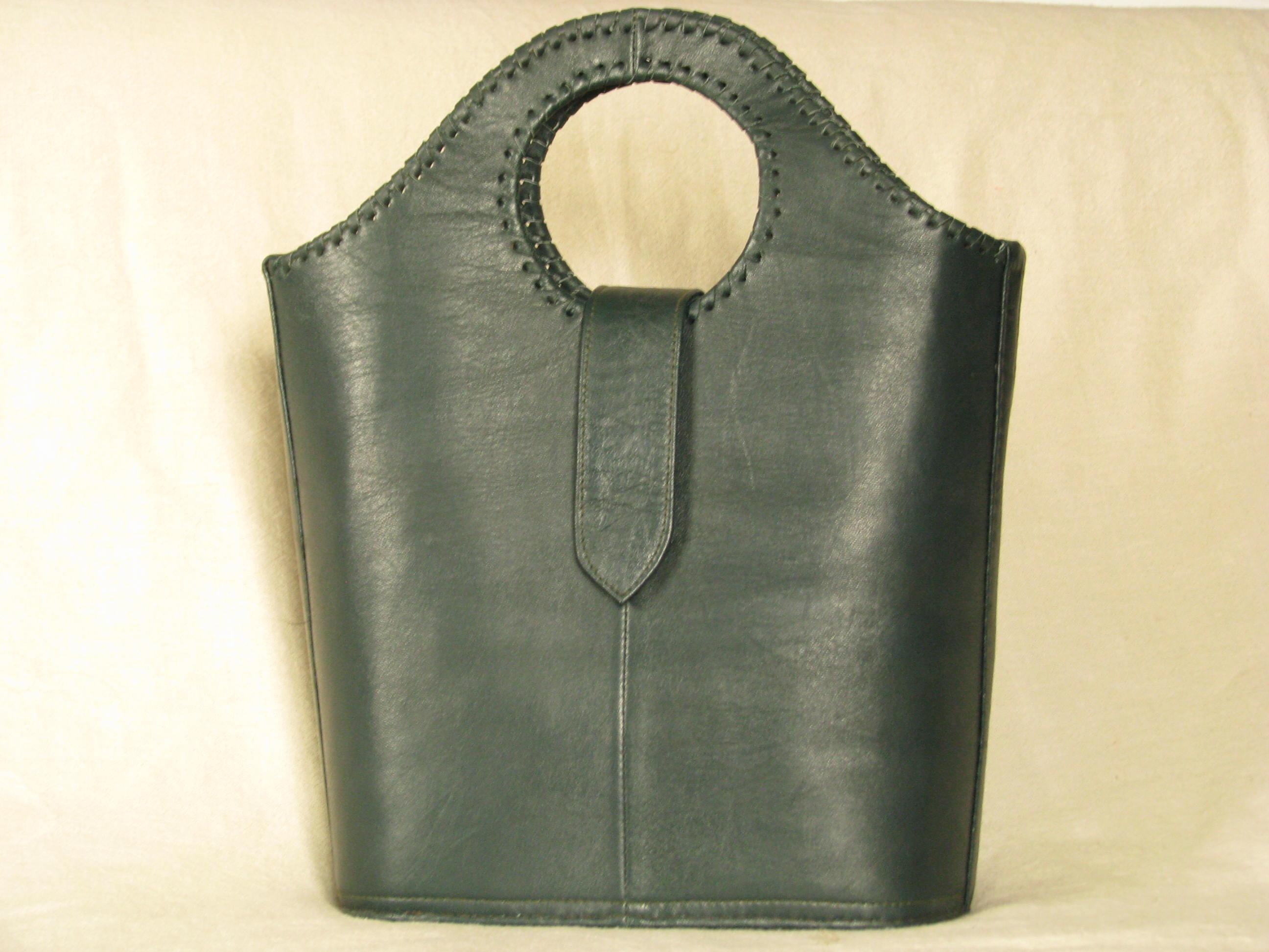 Gundara - Real Leather Shopper - dark-green - genuine leather - from Afghanistan - fair trade