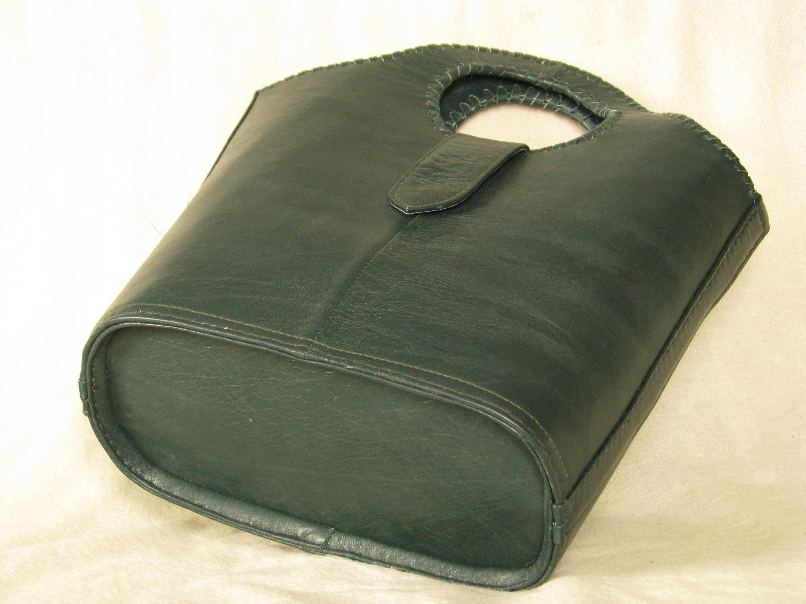 Gundara - dark-green shopping bag - genuine leather - made in Afghanistan - fair trade