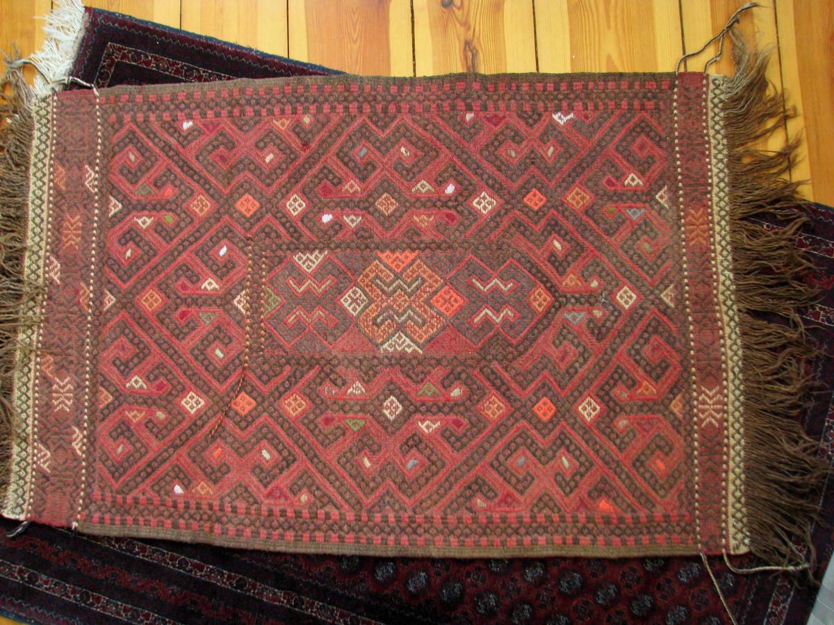 Afghan Red Suzani Rug - handwoven and hand-embroidered rug - Gundara