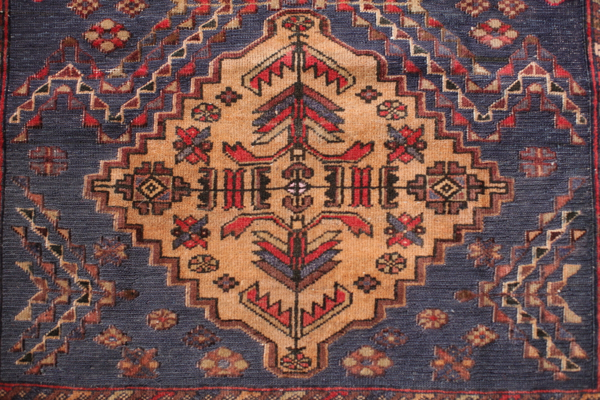 blauer Herati Adraskani Belutsch-Teppich Musterdetail - Gundara