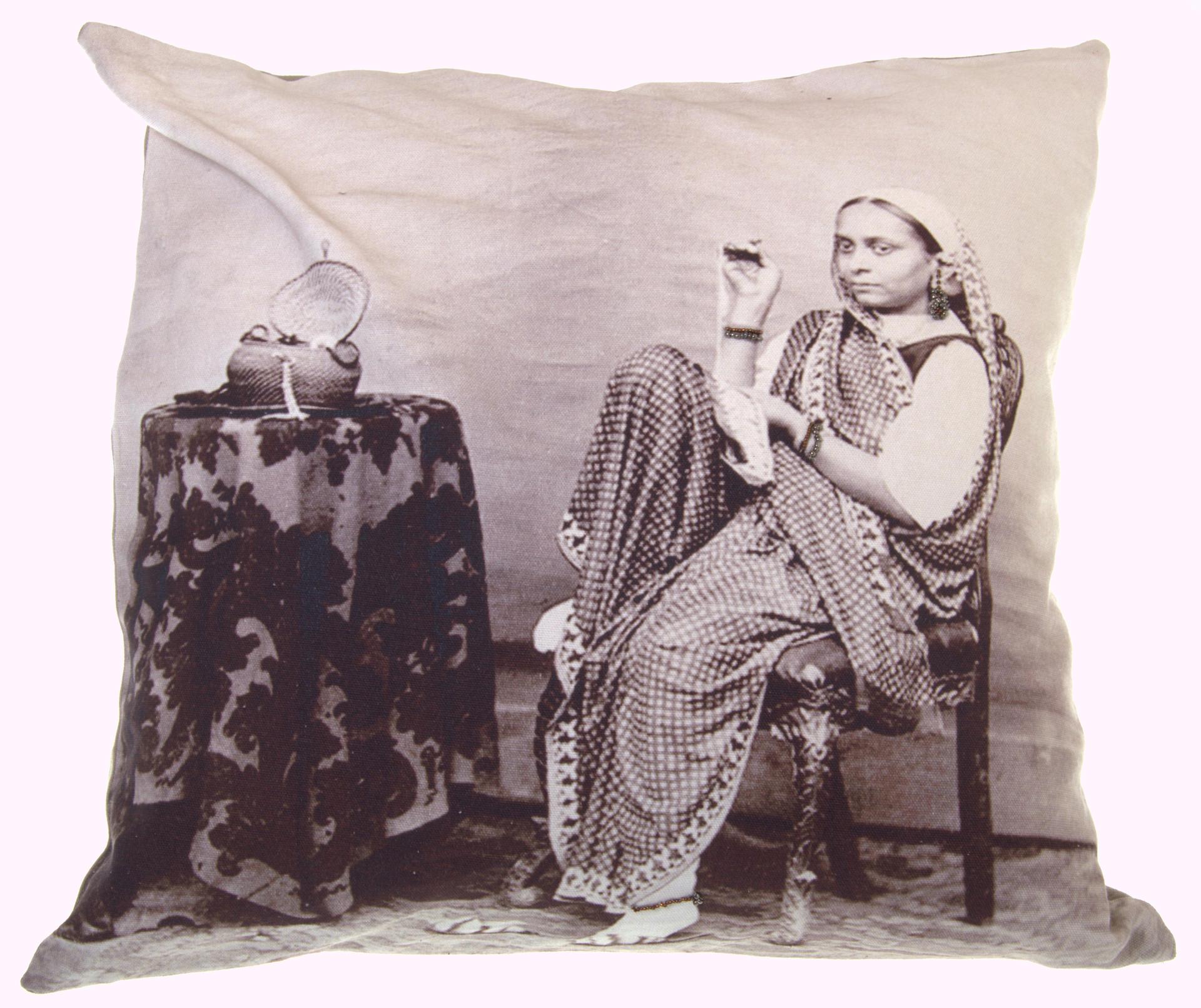 Neeru Kumar cushion cover with sitting woman and beads