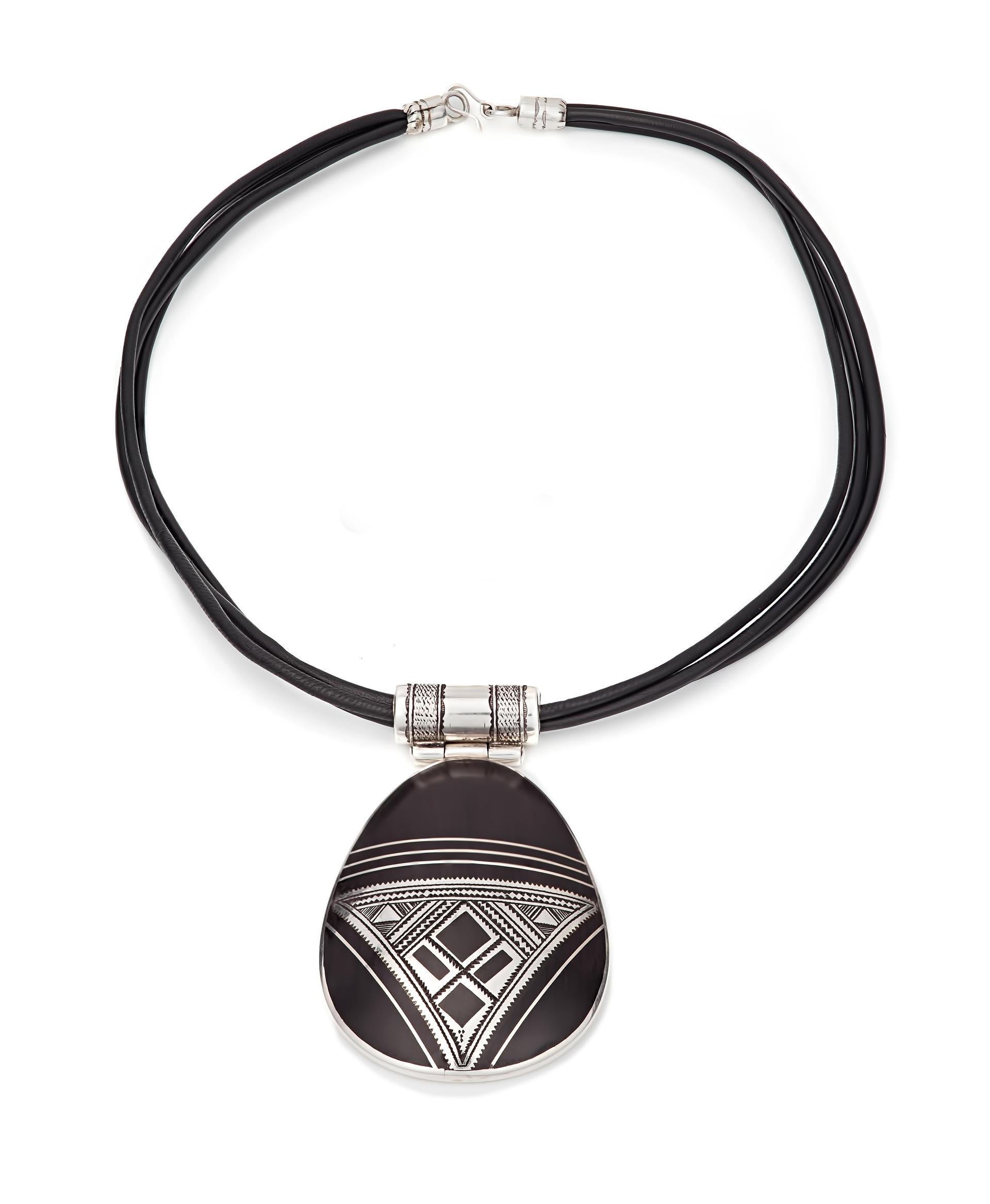Tuareg design oval pendant in silver and recycled ebony tekiket made tuareg design pendant in silver and recycled ebony mozeypictures Images