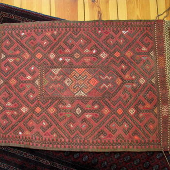 Afghan Red Suzani Rug - handwoven and hand-embroidered rug - Gundara