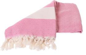 Pink hammam towel with diamond pattern