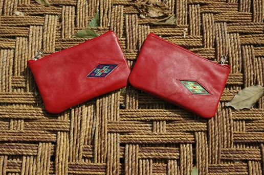 Gundara - Little Lea - handmade embroidered cosmetics pouch in red leather