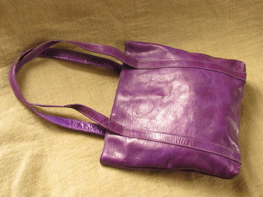 genuine leather - handbag - funky purple - fair trade - Burkina Faso