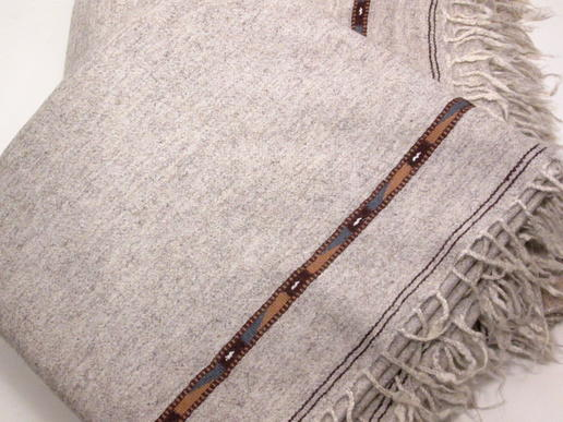 nice grey blanket - patu plaid - fair trade from Pakistan - handwoven