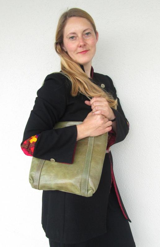 Echtleder grüne Einkaufstasche - Gundara