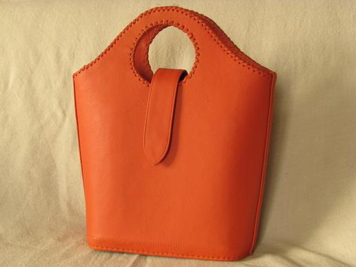 Gundara - Echtleder-Shopper - Koralle - orange - feines Schafsleder - Afghanistan