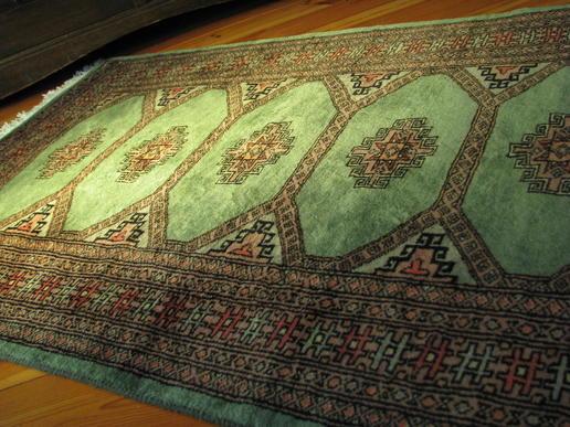 Mint-grüner handgeknüpfter Jaldar-Teppich - Pakistan - handgemacht - 100% Wolle