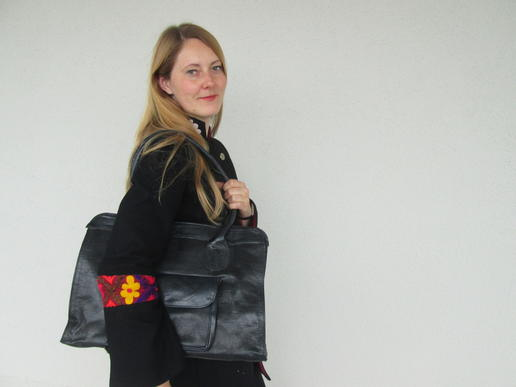 black lucia office leather bag