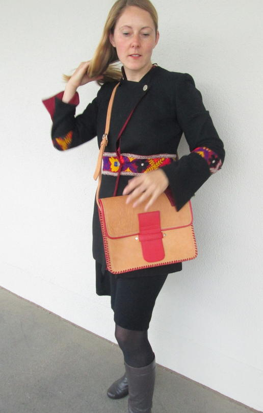 sac cuir rouge et cuir naturel