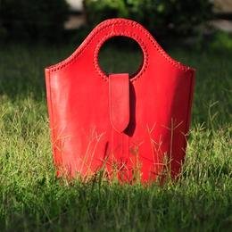The Red Devil - red leather shopper - Gundara
