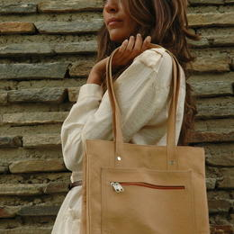sac de courses en cuir naturel - Gundara