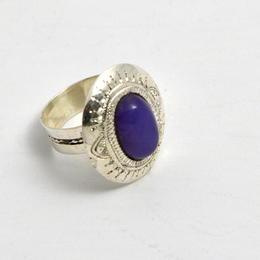 Bague argent et agate violette