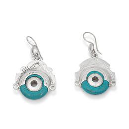 boucles d'oreille argent et turquoise