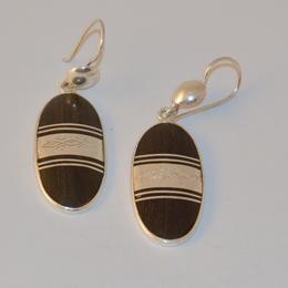 Boucles d'Oreille Ovales Argent et Ebène du Niger