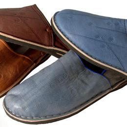 en cuir marron ou bleu