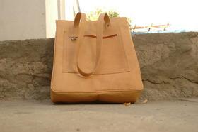 Shopping bag Sofia - real leather - made in Afghanistan - Gundara