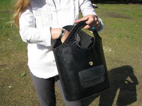 Gundara - Einkaufstasche Schwarz - Shopper aus schwarzem Leder