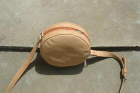 Gundara - Kolola - round evening bag - natural leather  - made in Afghanistan
