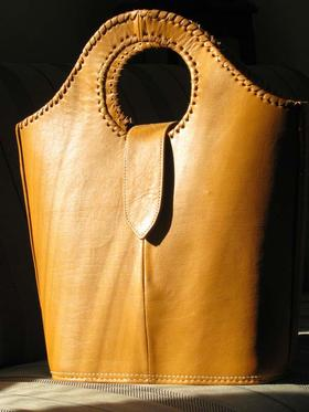 Shopper Coffee - light brown leather shopping bag - Gundara