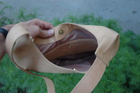 shoulder bag - inside - natural genuine leather - Afghanistan
