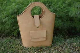 natural leather trendy shopping bag