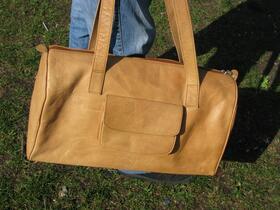 Gundara - Natural leather Sport Bag - 2 side pockets - genuine leather