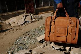 Traveller Classic Small - small travel bag - natural goat leather - Gundara