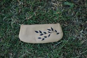 Gundara - Olive branch - cosmetics or pencil pouch in leather