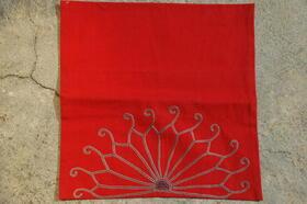 Gundara - housse de coussin brodée à la main - Zardozi - coton rouge