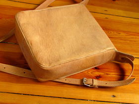 behind the leather bag