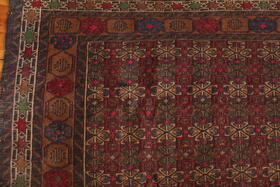Cute embroideries on woolen Herati rug - Gundara