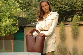 Echtleder Braune-Handtasche - Gundara