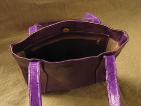 Gundara - Missy Simple Africa - shiny pruple - handbag - genuine leather - Burkina Faso