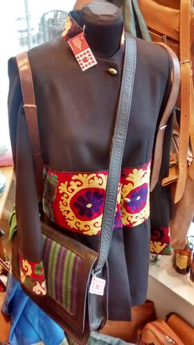 Gundara Design - chic black jacket - with handmade Afghan gul embroidery