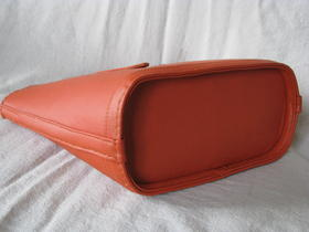 shopper coral - orange real leather - from Afghanistan - bottom view