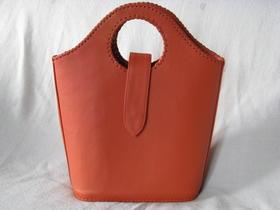 Gundara - Echtleder-Shopper Koralle - feines Schafsleder - orange - aus Afghanistan